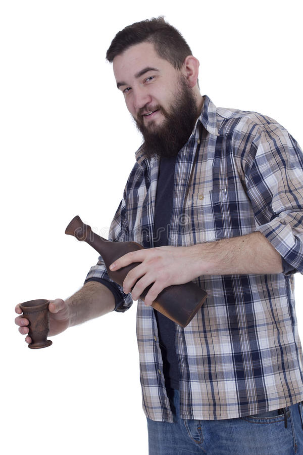 Mężczyzna dolewania wino w szkle zdjęcia royalty free