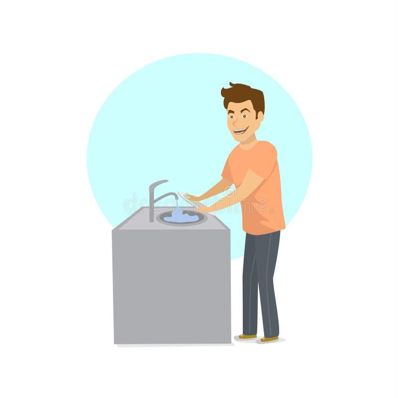 Mężczyzna domycia naczyń brudni talerze w zlew ilustracji