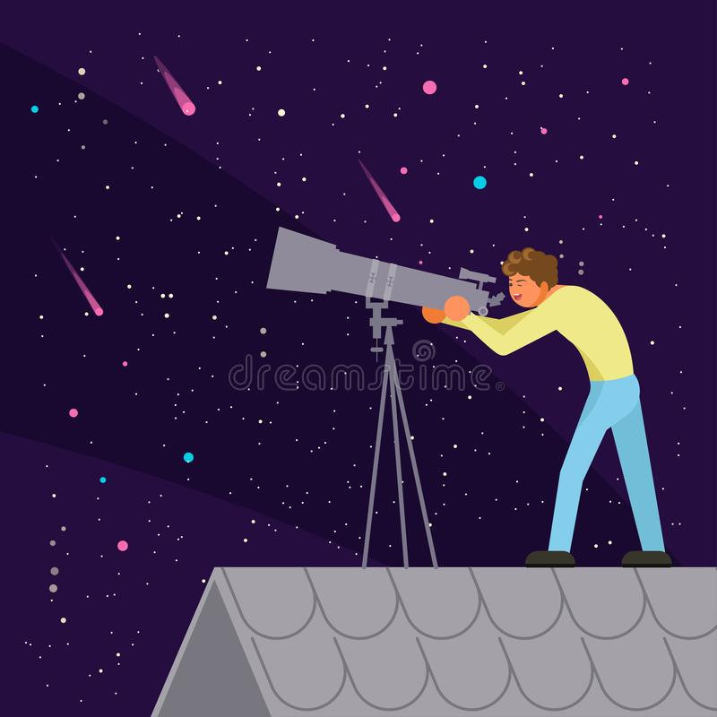 Mężczyzna dopatrywania nocnego nieba wektorowa płaska ilustracja ilustracji