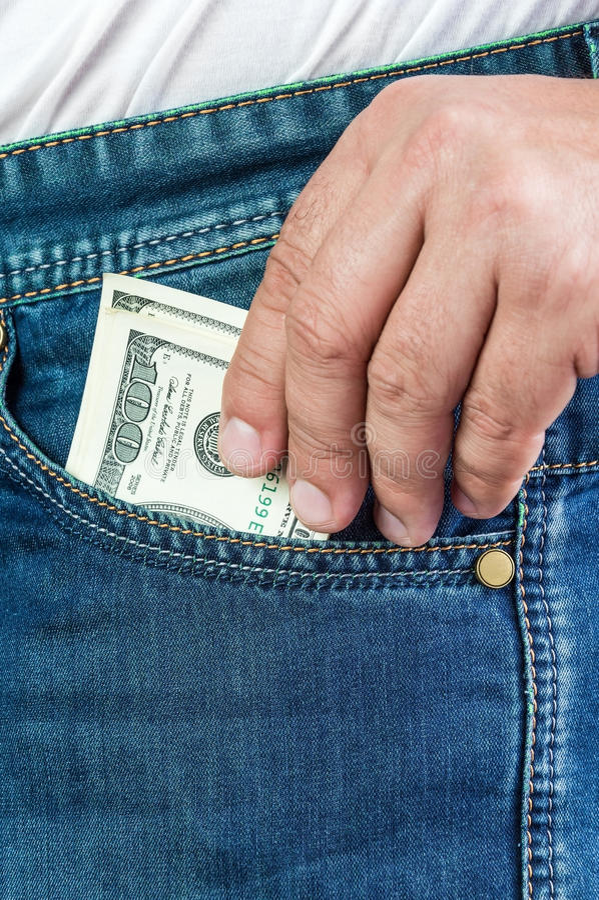 Mężczyzna dostaje dolary zdjęcie royalty free