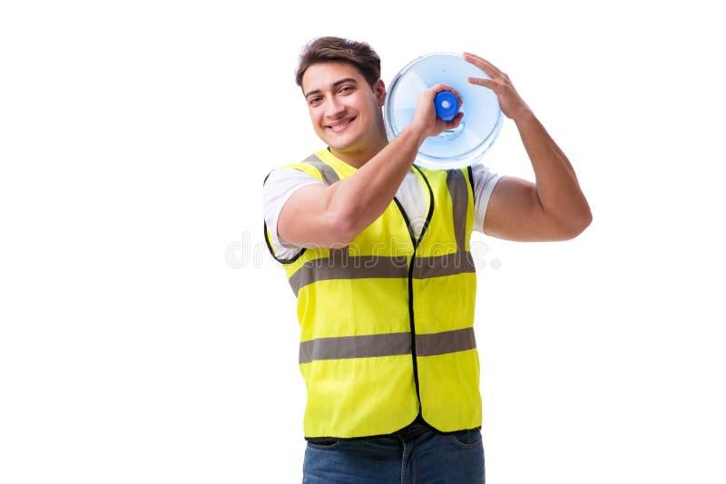Mężczyzna dostarcza bidon odizolowywającego na bielu zdjęcie stock