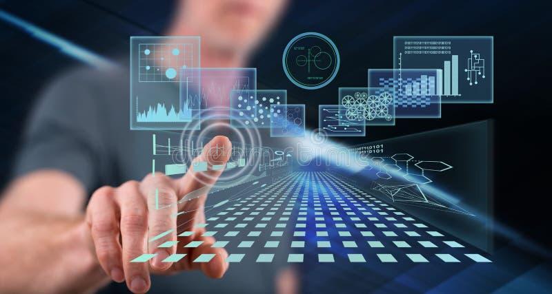Mężczyzna dotyka biznesowego cyfrowego interfejsu pojęcie obraz royalty free