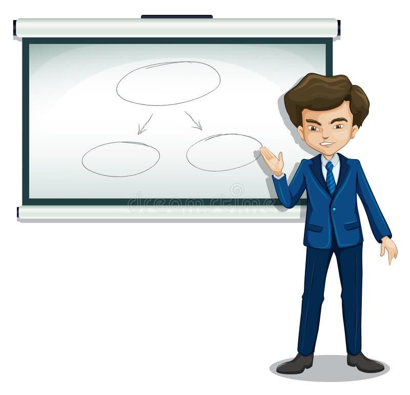 Mężczyzna dyskutuje flowchart w tablicie informacyjnej royalty ilustracja