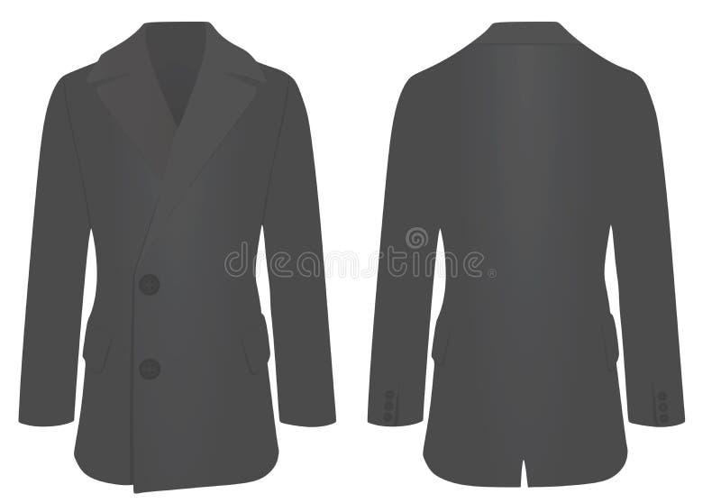 Mężczyzna elegancki żakiet, przód i tylny widok, ilustracja wektor