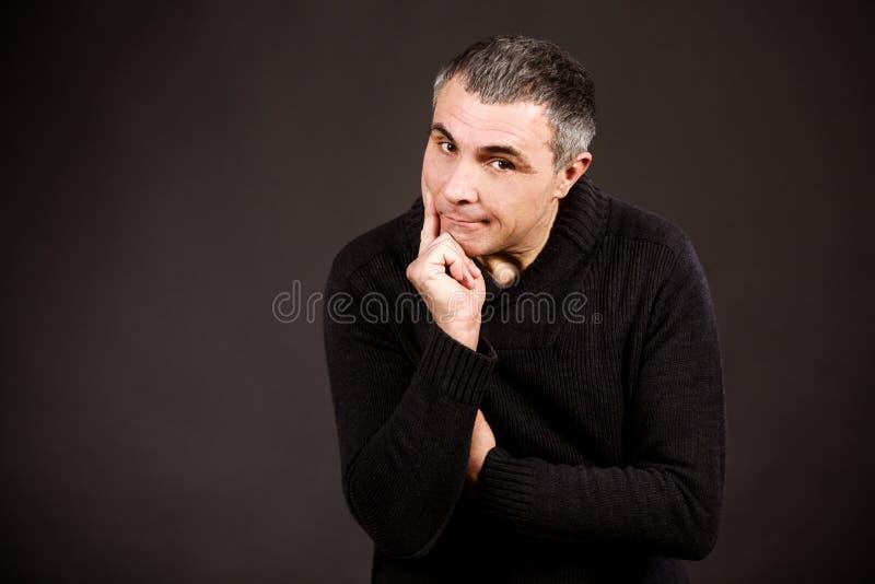 Mężczyzna emocj smucenia niespodzianki radości biały czarny różny dorosły odizolowywać ręki obrazy stock