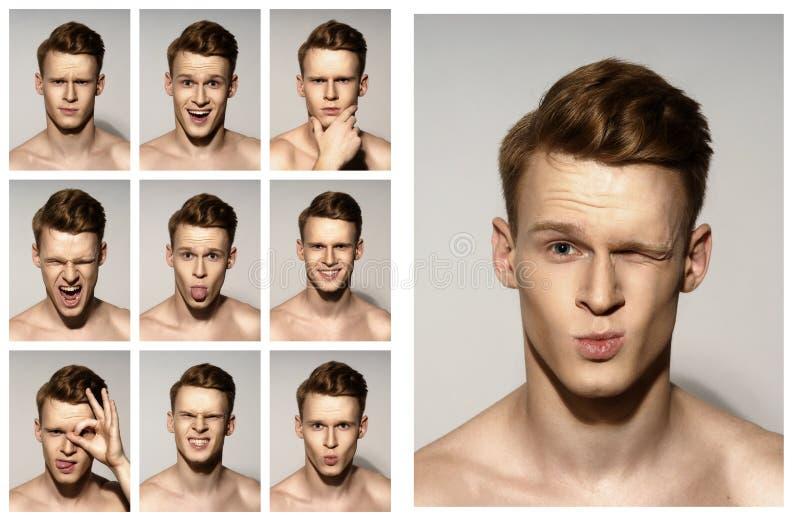 Mężczyzna emocjonalni portrety ustawiający fotografia stock