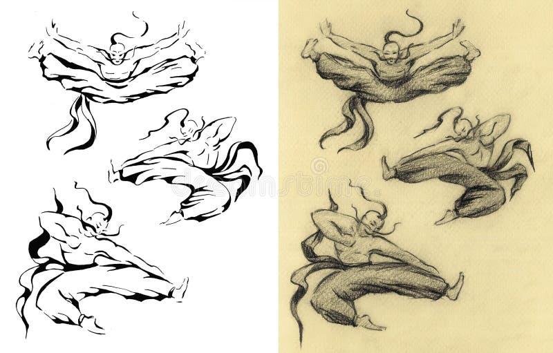 Mężczyzna faceta taniec Rocznik retro ilustracja wektor