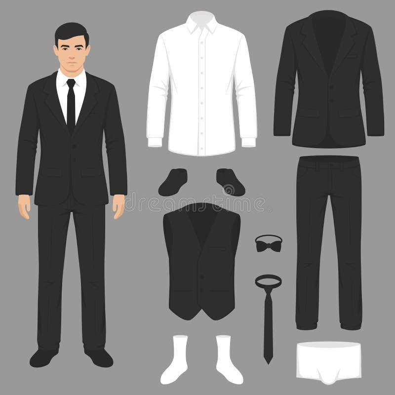 mężczyzna fasonują, kostiumu mundur, kurtka, spodnia, koszula ilustracja wektor