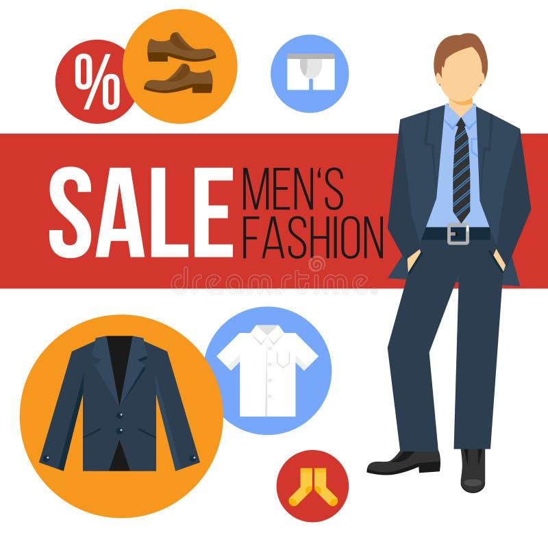 Mężczyzna Fasonują Odzieżową sprzedaż ilustracja wektor