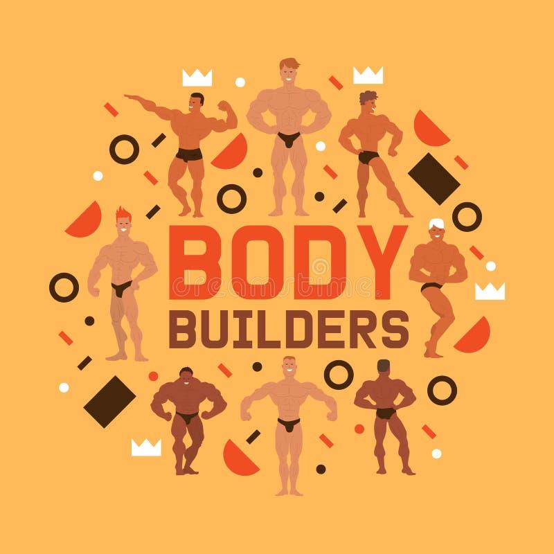 Mężczyzna fizyki sztandaru wektoru ilustracja Mięśnia bodybuilder mężczyźni napina jego mięśnie Sprawno?? fizyczna modele, pozowa ilustracja wektor