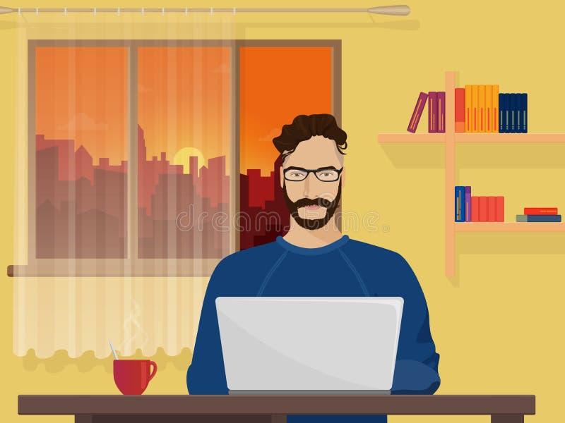 Mężczyzna Freelancer projektanta modniś jest pracującym cyfrowaniem i programowaniem na jego laptopie ilustracji