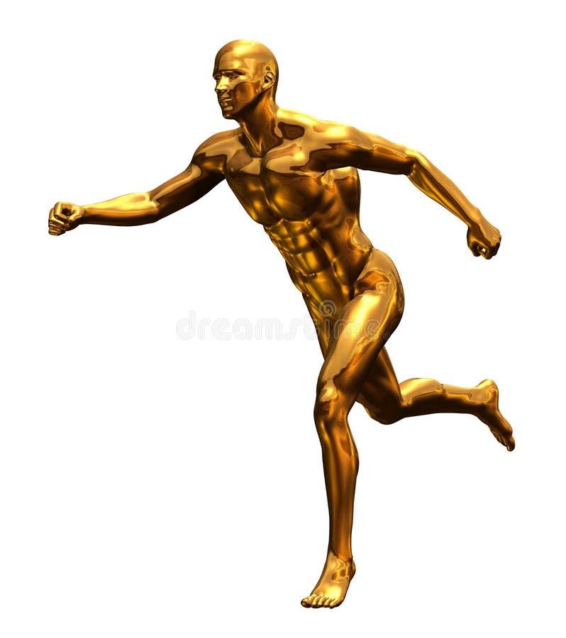 mężczyzna frontowy złoty bieg ilustracji