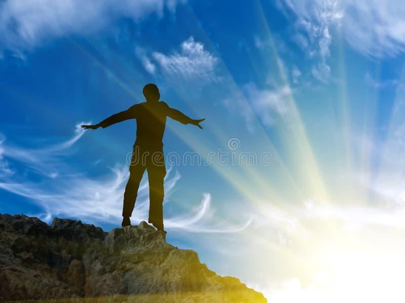 mężczyzna góry wierzchołek fotografia royalty free