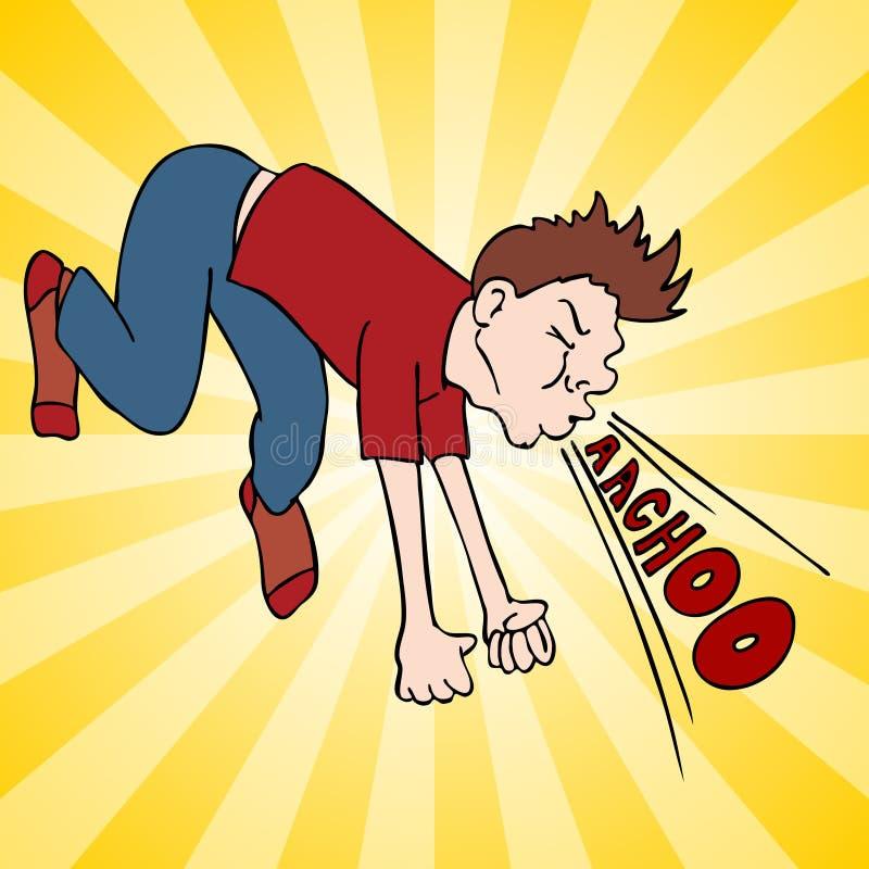 mężczyzna głośny robi kichnięcie ilustracji