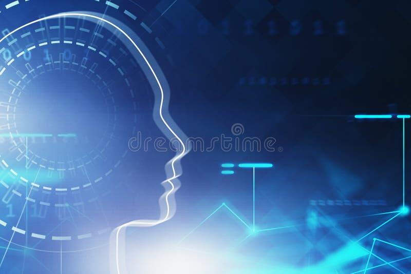 Mężczyzna głowa, AI pojęcie i sieć, royalty ilustracja