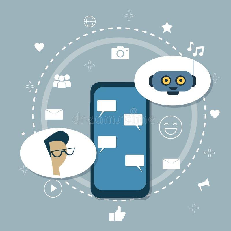 Mężczyzna gawędzenie Z trajkotanie larwy Chatbot Nowożytnego robota Mobilnym poparciem ilustracji