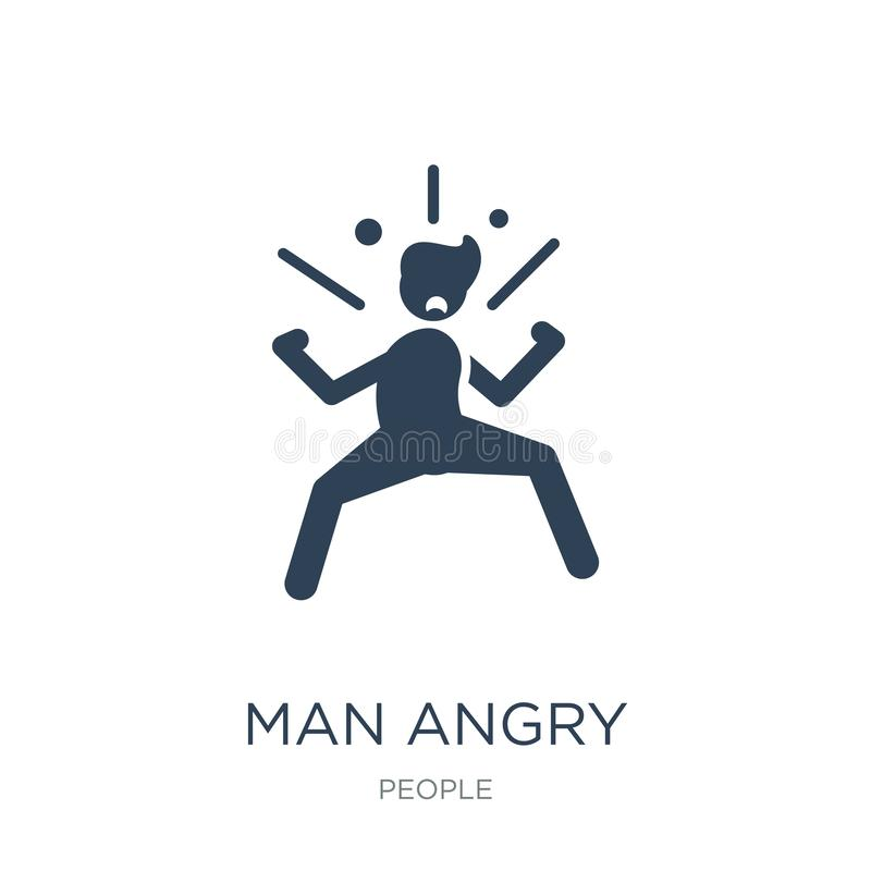 mężczyzna gniewna ikona w modnym projekta stylu mężczyzna gniewna ikona odizolowywająca na białym tle obsługuje gniewnego wektoro ilustracja wektor