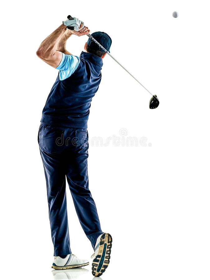 Mężczyzna golfista grać w golfa odosobnionego witki tło obrazy royalty free