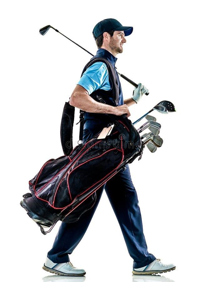 Mężczyzna golfista grać w golfa odosobnionego witki tło zdjęcia royalty free