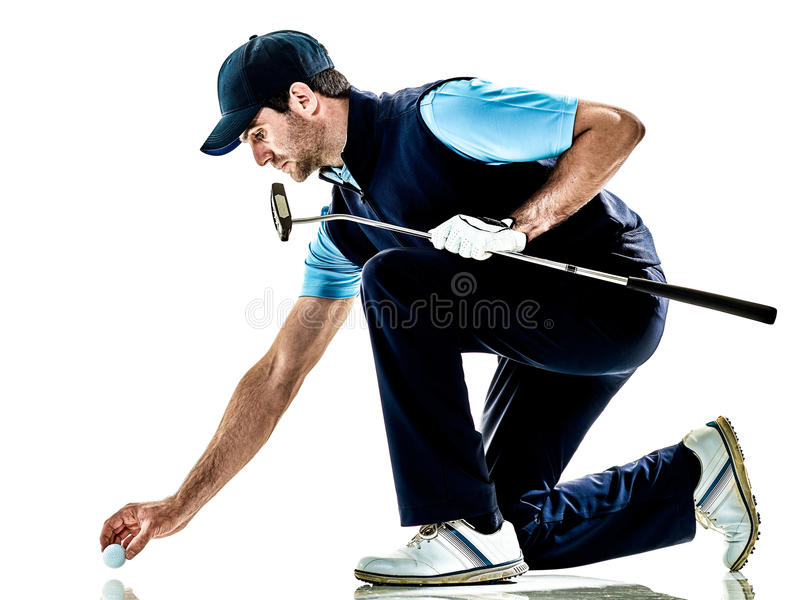 Mężczyzna golfista grać w golfa odosobnionego witki tło zdjęcie stock