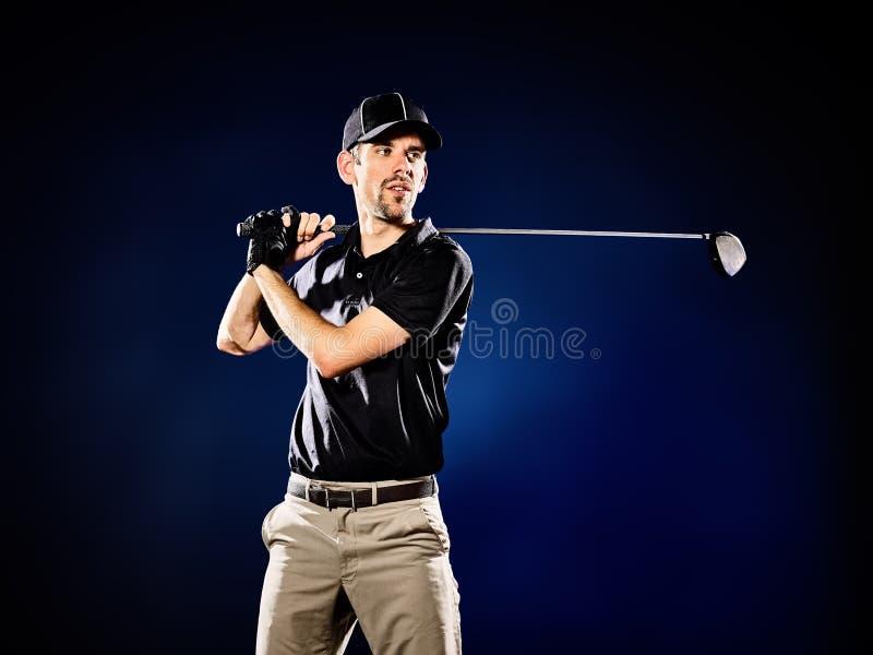 Mężczyzna golfisty grać w golfa odizolowywam fotografia stock