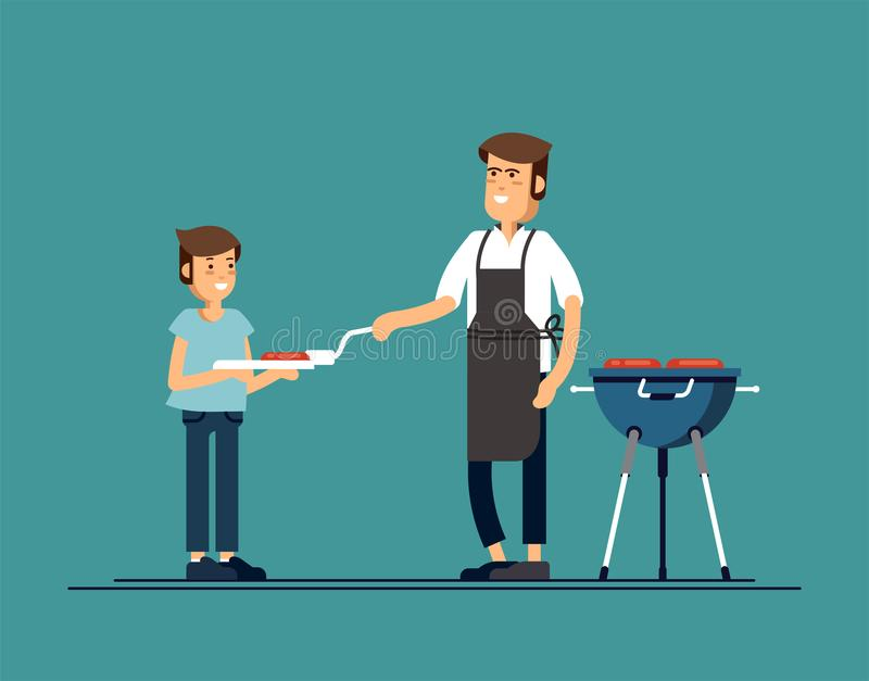 Mężczyzna gotuje grilla grilla Dłoniak kiełbasy na ogieniu i mięso ilustracji