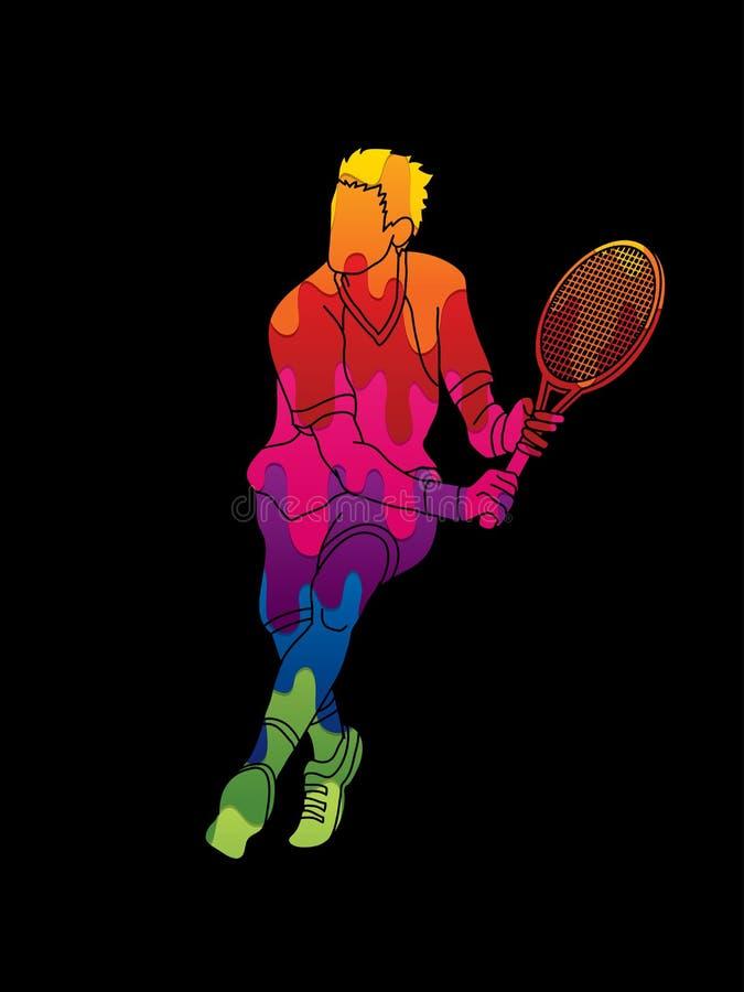 Mężczyzna gracz w tenisa akcja ilustracji