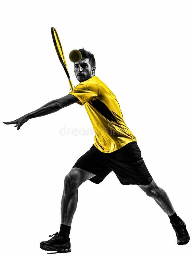 Mężczyzna gracz w tenisa sylwetka obraz stock