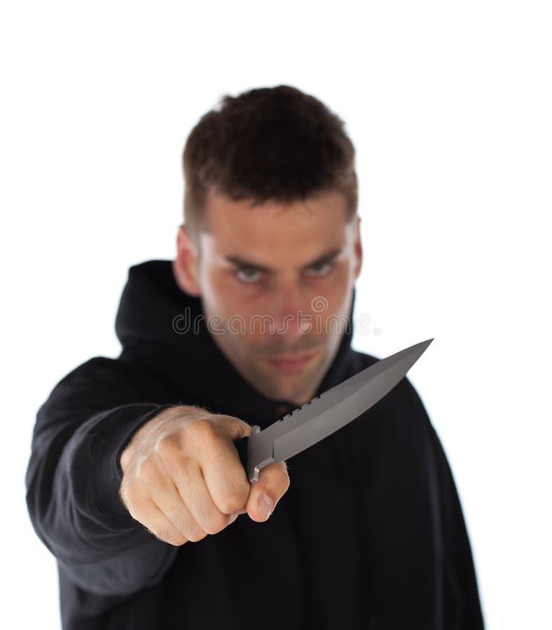 Mężczyzna grożenie z nożem fotografia royalty free