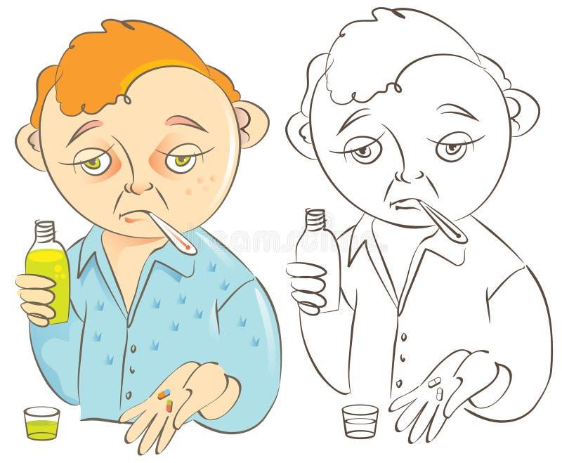 mężczyzna grypowa ilustracyjna choroba ilustracja wektor