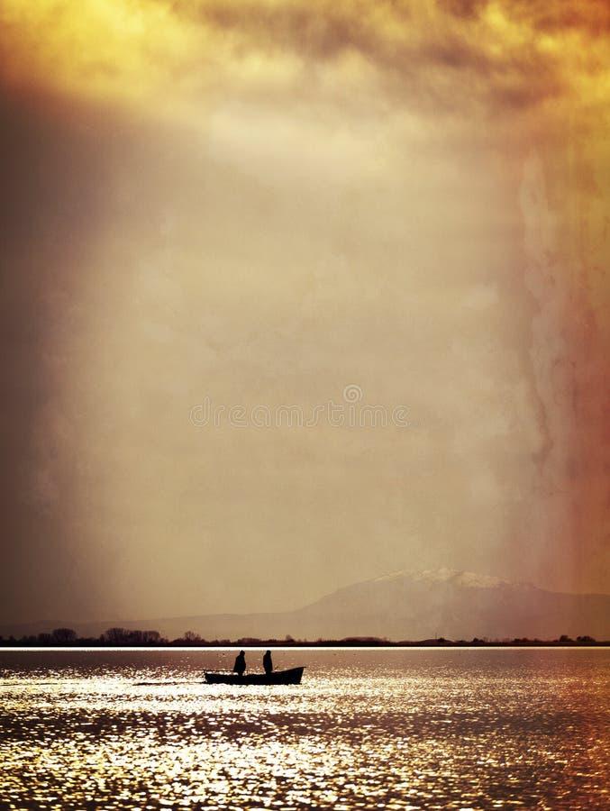 Mężczyzna i łódź zdjęcie stock