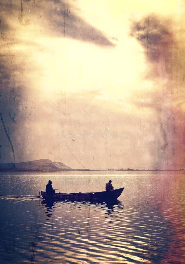 Mężczyzna i łódź fotografia royalty free