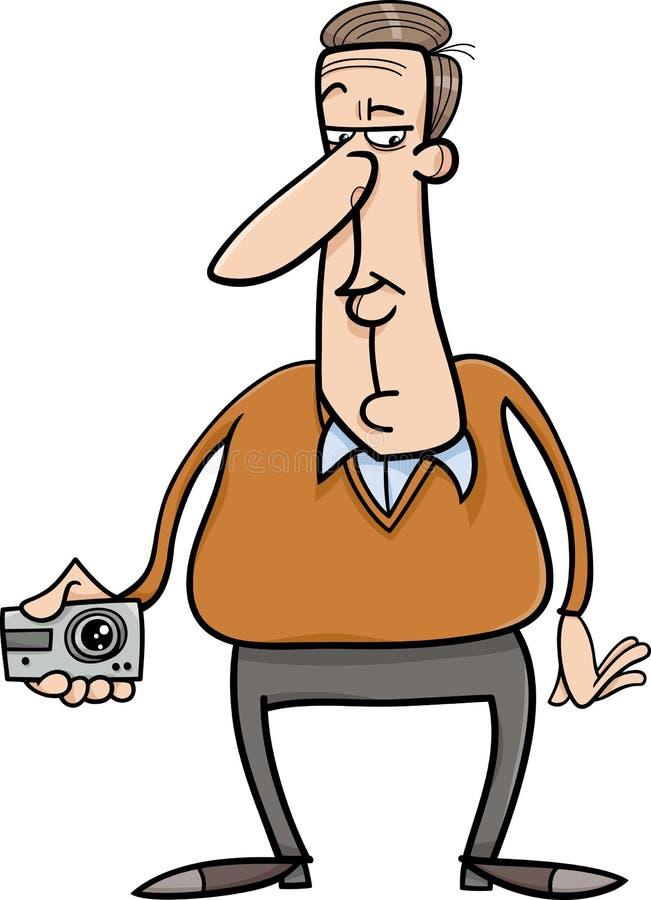 Mężczyzna i chowana kamery kreskówka ilustracja wektor