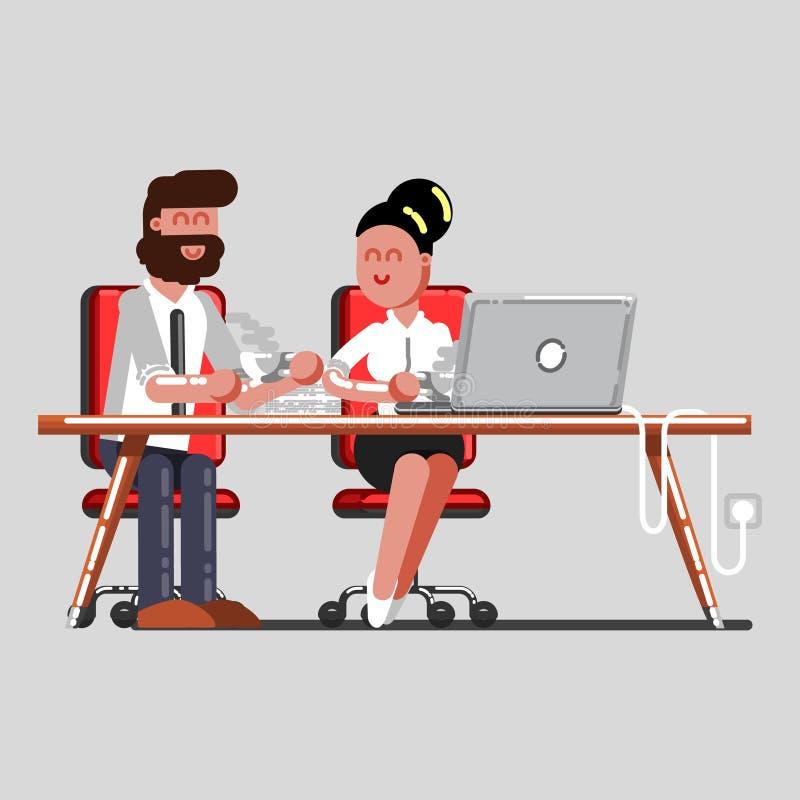Mężczyzna i dziewczyna ma przerwę na pracie ilustracja wektor