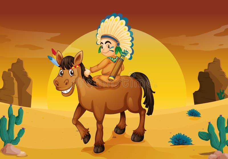 Mężczyzna i koń royalty ilustracja