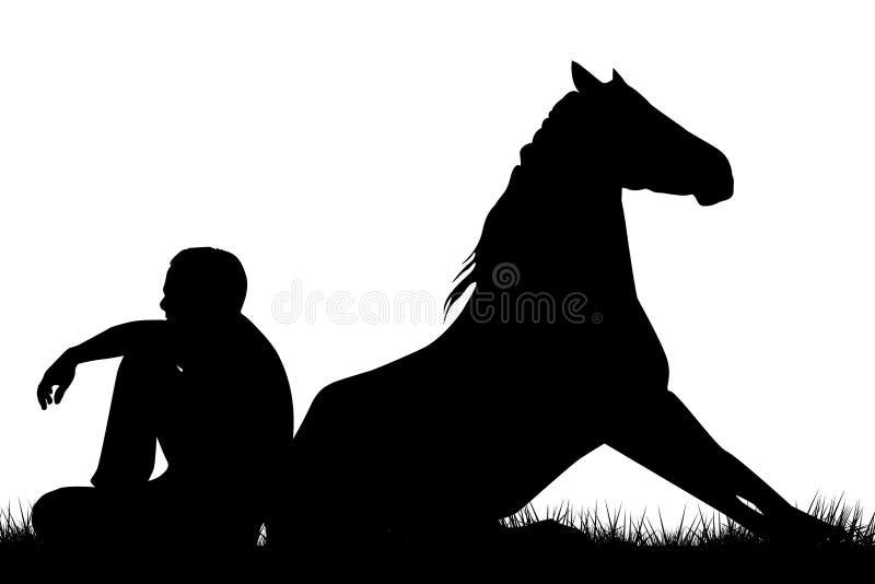 Mężczyzna i koń siedzi z powrotem popierać royalty ilustracja