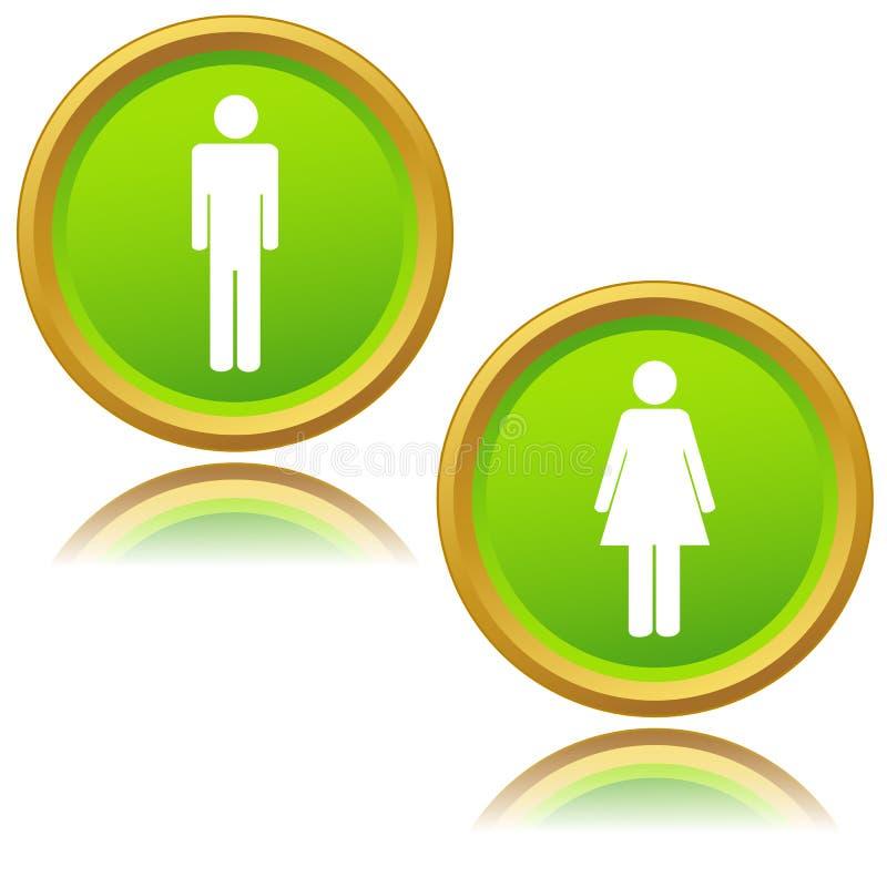 Mężczyzna i kobiet ikony ilustracji