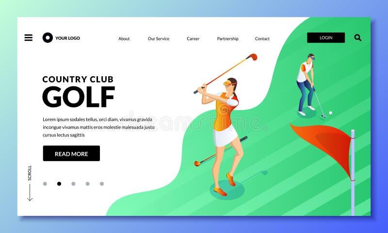 Mężczyzna i kobieta bawić się golfa na zieleni polu Wektorowa isometric ilustracja Desantowy strony lub sztandaru projekta szablo ilustracji