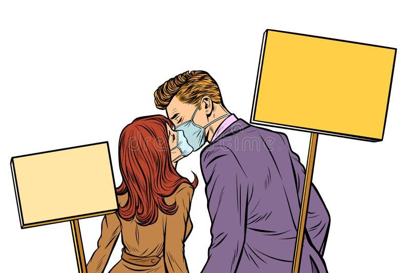 Mężczyzna i kobieta dobieramy się protestować ekologia Odizolowywa na białym backg ilustracji