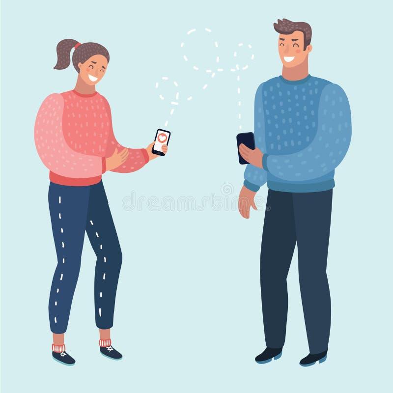 Mężczyzna i kobieta komunikujemy Gawędzący z catboat na telefonie, online rozmowa z texting wiadomość wektoru pojęciem ilustracja wektor
