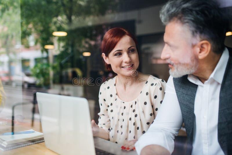 Mężczyzna i kobieta ma biznesowego spotkania w cukiernianym, używać laptop fotografia royalty free