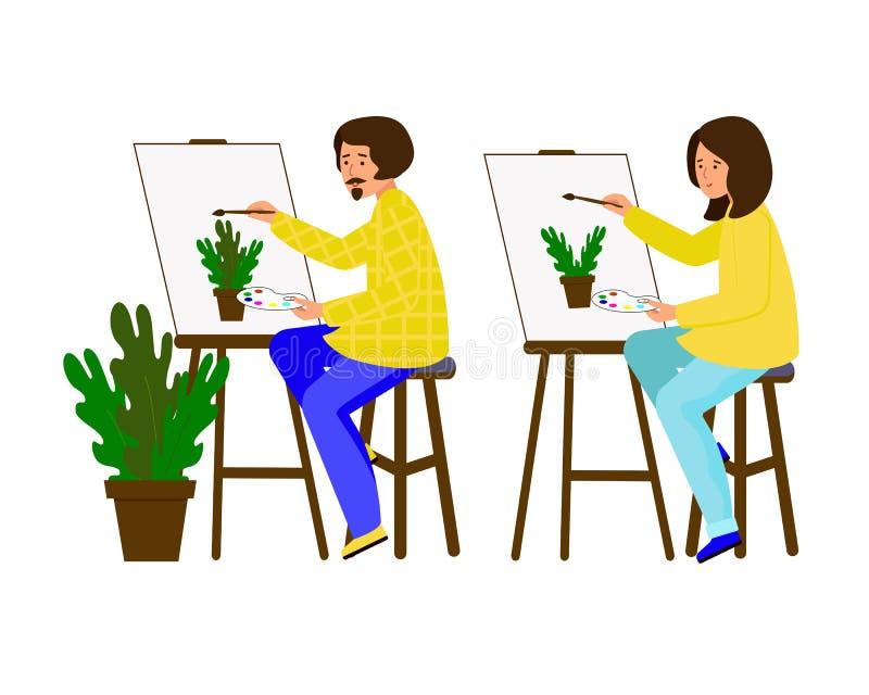 Mężczyzna i kobieta malujący na kanwie Artyści pracuje na obrazie Facet i dziewczyna pokazujemy garnek kwiaty ilustracji