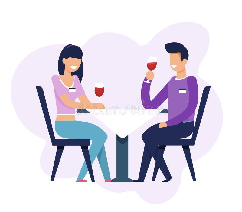 Mężczyzna i kobieta na datowanie Siedzi przy stołem Odizolowywającym ilustracja wektor