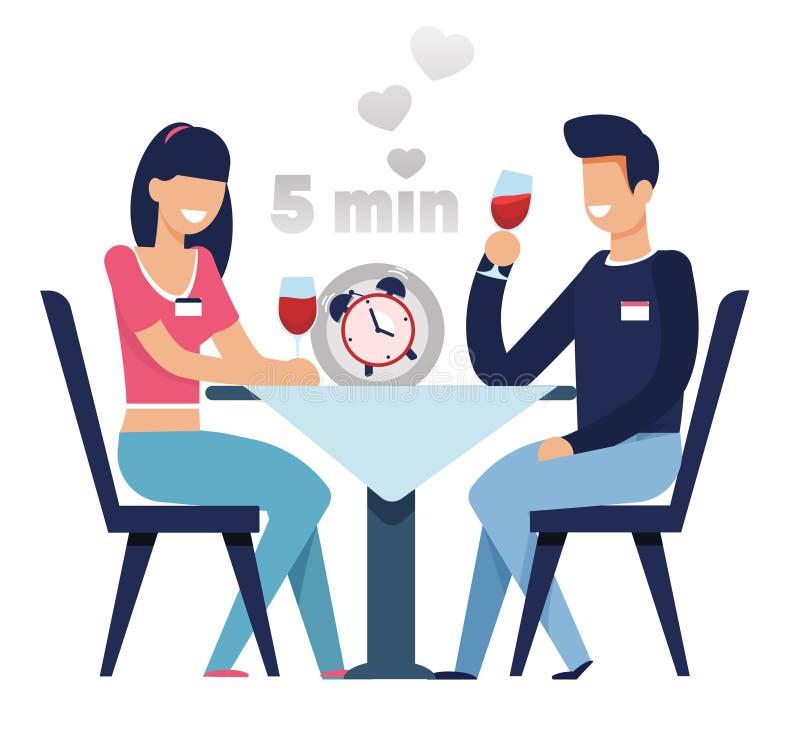 Mężczyzna i kobieta na Szybki datowanie w 5 minut kreskówce royalty ilustracja