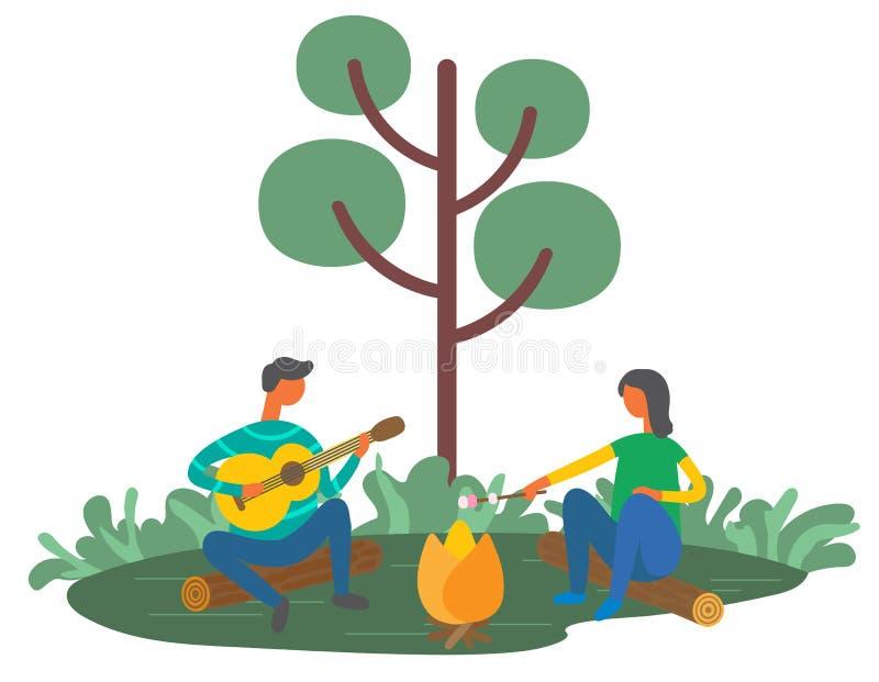 Mężczyzna i kobieta Odpoczywa Outdoors z gitarą, pinkin ilustracji