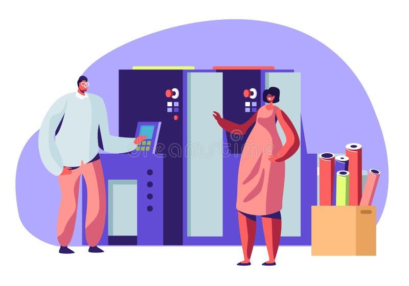 Mężczyzna i kobieta Pracuje w Drukowym domu lub Reklamowej agencji Komunikujemy blisko Polygraphy wyposażenia Projektanci, pracow royalty ilustracja