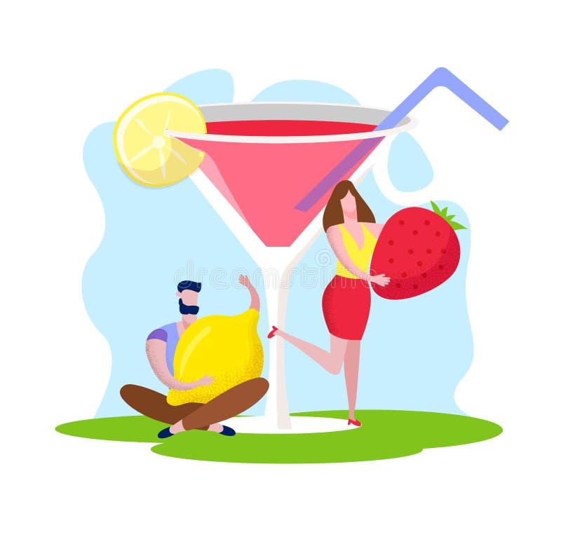 Mężczyzna i kobieta Trzyma Ogromnej truskawki i cytryny ilustracja wektor