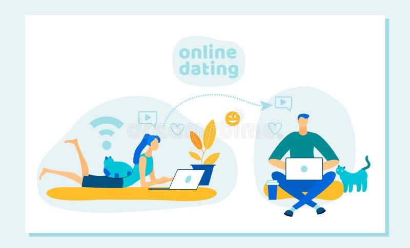 Mężczyzna i kobieta Używa dla Datować stronę internetową lub wiszącą ozdobę ilustracja wektor