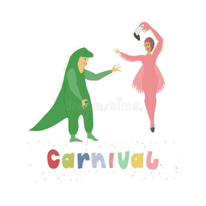 Mężczyzna i kobieta ubieraliśmy w śmiesznych karnawałowych kostiumach dinosaur i flaming Multicolor podpis z świątecznymi confett royalty ilustracja