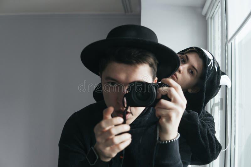 Mężczyzna i kobieta w czerni ubraniach obraz royalty free
